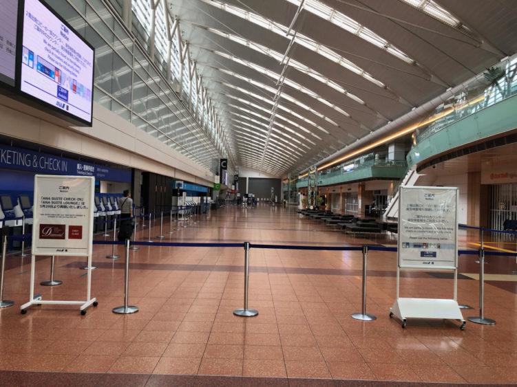 2箇所の保安検査場が閉鎖された羽田空港第2ターミナル